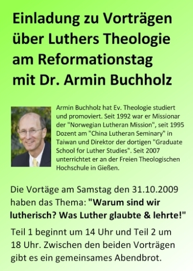 Einladung zu Luthervorträgen am Reformationstag