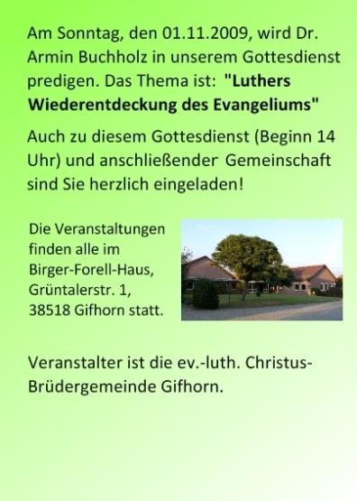 Einladung zu Luthervorträgen am Reformationstag 2