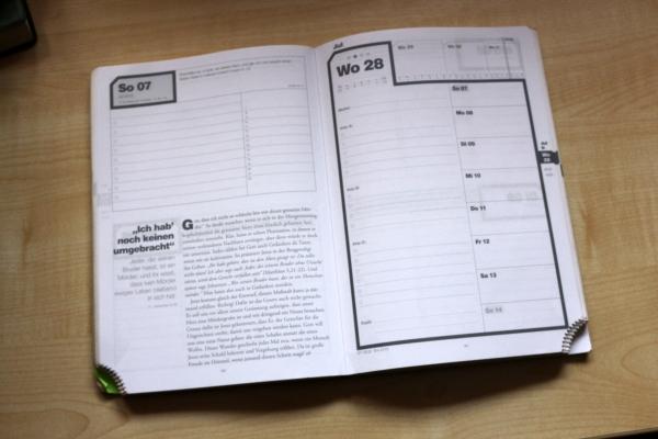 Normale Wochenplanung mit Wochenandacht und Platz für Termine und Prioritätenplanung