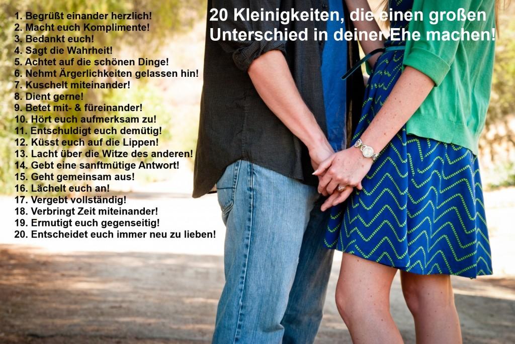 20 Kleinigkeiten, die einen großen Unterschied in deiner Ehe machen